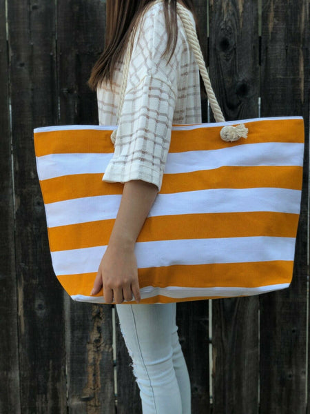 Top Handle Striped Monica Yellow & White Summer Beach Handbag