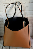 Caramel Brown Top Handle Faux Leather Fashion Handbag
