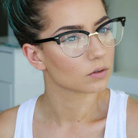 Classic Vintage Retro Black & Gold Cat Eye Style Clear Lens Frames