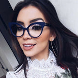 Fashionable Blue Cat Eye Oversized Stylish Clear Frames