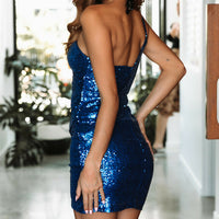 Princess Blue Sequin One Shoulder Cocktail Party Dress