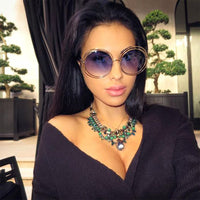 Tinted Blue Double Wire Vintage Style Sunglasses