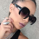 Cassidy Black Semi Rimless Oversized Round Sunglasses