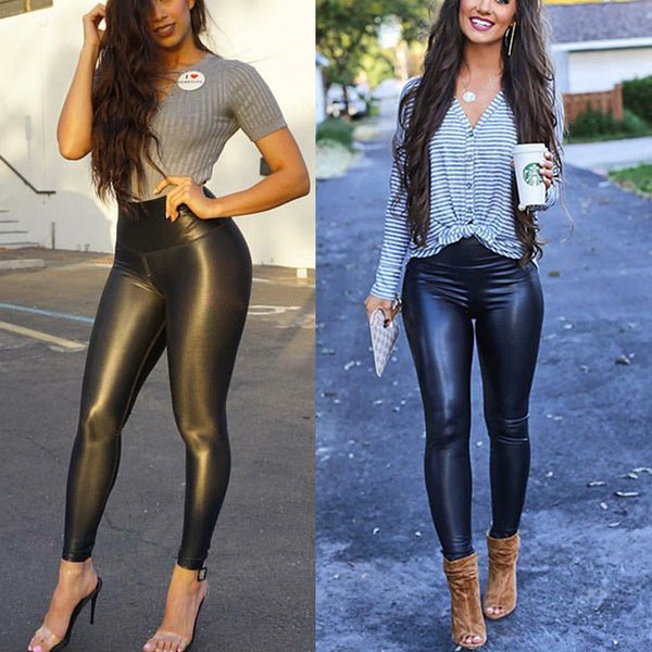 Slinky Black High Waist Faux Leather Legging Pants