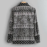 Men's Black Bandanna Printed Loose Fit Long Sleeve Top