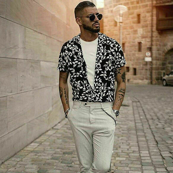 Men's Black Printed Loose Fit Button Down Short Sleeve Top