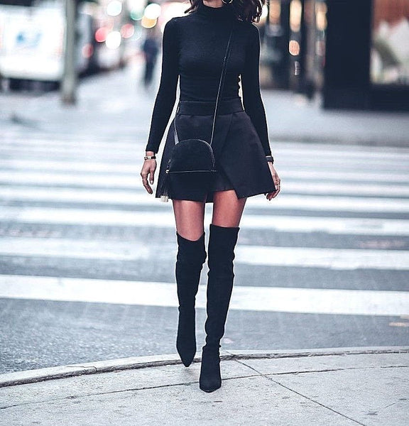 Chic Black Lace Up Stretch Calf Over The Knee Boots