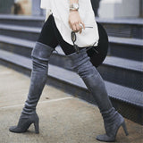 Black Suede Stretch Calf Over The Knee Boots