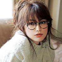 Vintage Style Round Oval Black & Gold Clear Lens Eye Glasses