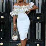 Ruffled White Society Off Shoulder Midi Dress
