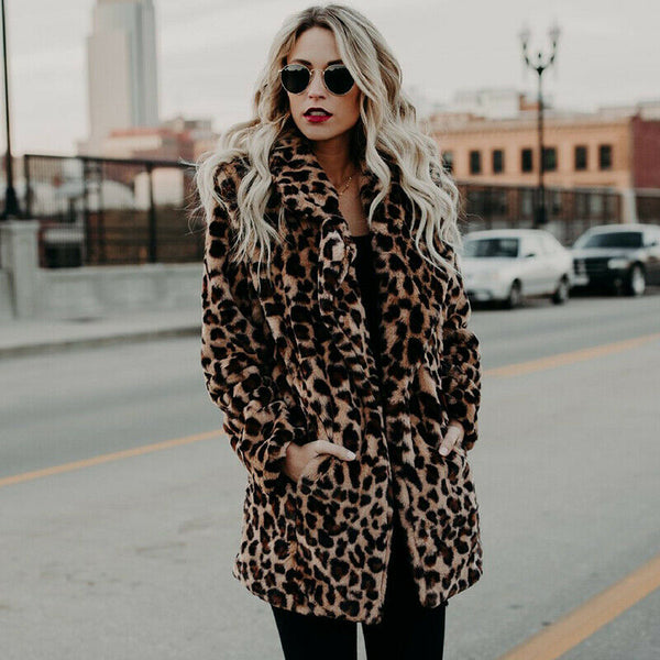 Furry Brown Cheetah Printed Long Sleeve Winter Coat