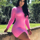 Furry Winter Pink Long Sleeve Bodycon Dress