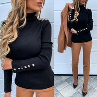 Gold Button Long Sleeve Turtleneck Sweater Top