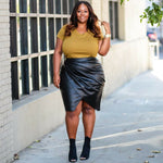 Plus Size Black Faux Leather Wrap Skirt