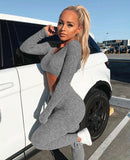 Gray 2pc Long Sleeve Crop Top and Pants Jumpsuit Set