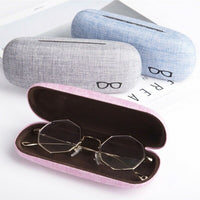 Linen Hard Shell White Eyewear/Frame Glasses Case Holder