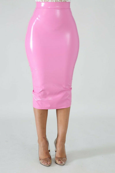 Soft Pink High Waist Latex Style Pencil Skirt