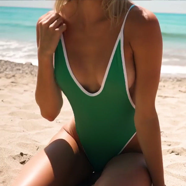 Villa Blanca Green Sleeveless One Piece Swimsuit