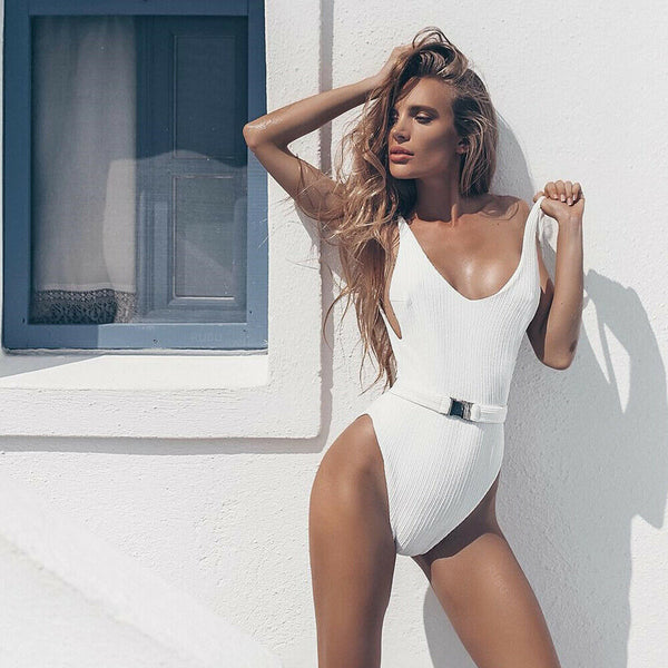 Sexy White Sleeveless Belted One Piece Swimsuit