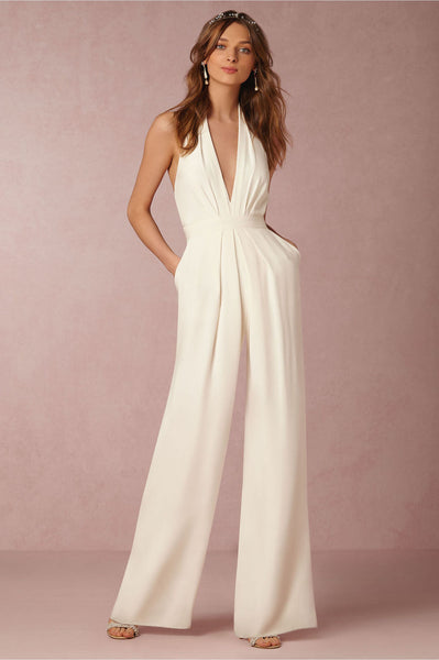 Giovanni White Halter Wide Leg Jumpsuit