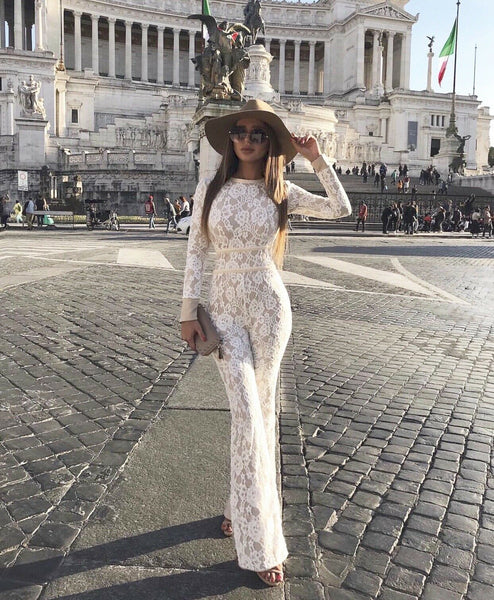 Italian White Lace Long Sleeve Jumpsuit