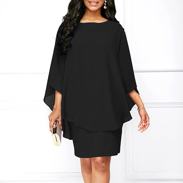 Plus Size Black Chiffon Cape Style Mini Dress