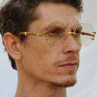 Men's Rimless Retro Style Round Clear Lens Gold & Wood Frame
