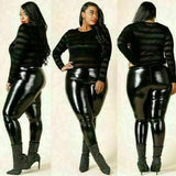 Plus Size Black Latex High Waist Leather Leggings