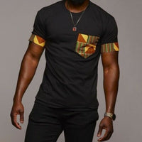 Men's Black Dashiki Printed Knit Short Sleeve Top