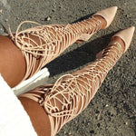 Nude Lace Up Gladiator Pointy Toe Boots