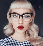 Vintage Kitten Frames Clear Lens Black Eye Glasses