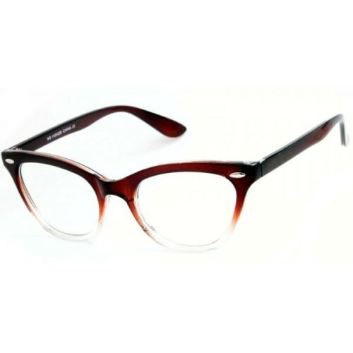 Luscious Brown Cat Eye Clear Ombre Eyeglasses