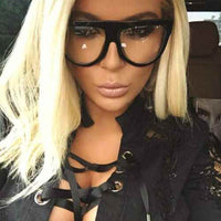 Designer Black Clear Oversized Flat Top Fashionable Glasses