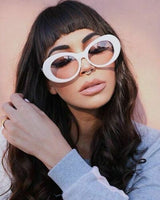 """Superficial"" White Clear Round Oval Sunglasses"