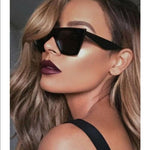 """The Edge"" Black Thick Frame Designer Sunglasses"
