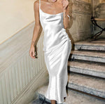 Champagne White Satin Cocktail Dress