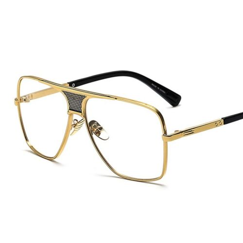 Men's Gold Clear Square Aviator Style Metal Sunglasses