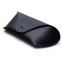 Portable Soft Ribbeted Black Leather Eyewear/Frame Glasses Case Holder