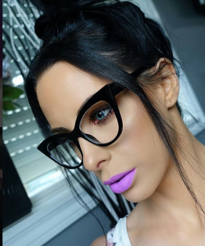 Black Oversized Cat Eye Shayla Style Designer Clear Glasses