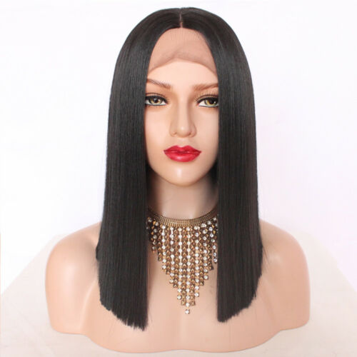 "Black 14"" Lace Front Wig Women Short Bob Synthetic Full Head Hair Wig"