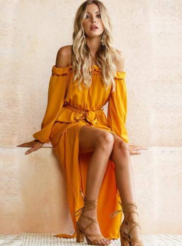 Santorini Yellow Off Shoulder Maxi Dress