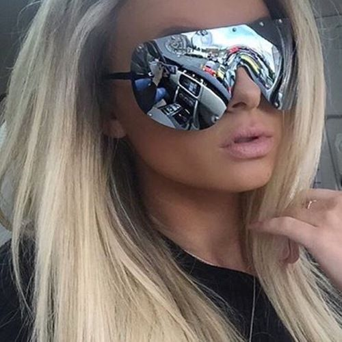 """The Shield"" Studded Silver Aviator Sunglasses"
