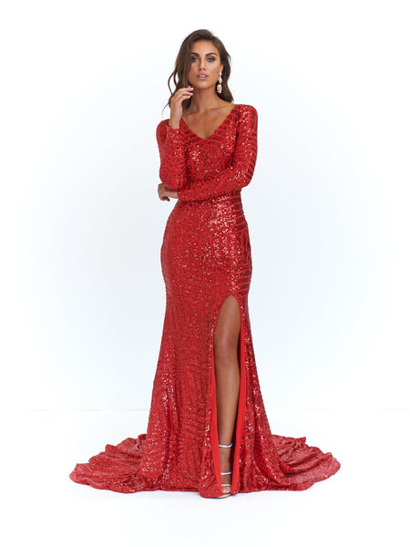 Gorgeous Red Sequin Long Sleeve Hi Split Maxi Dress