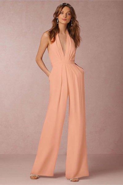 Giovanni Peach Halter Wide Leg Jumpsuit