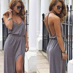 Gray Twisted Knot Backless Maxi Dress