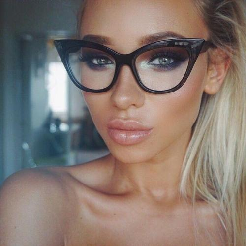 Black Clear Cat Eye Glasses
