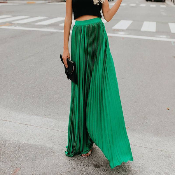Lovely Pleated Emerald Green Maxi Skirt