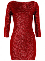 Exquisite Crushed Red Sequin 3/4 Sleeve Dress