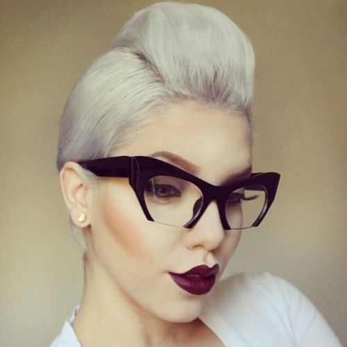 Black Cat Eye Clear Semi Rimless Glasses