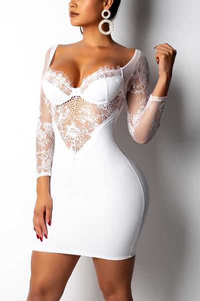 Exotic White Lace V Cut Mini Dress